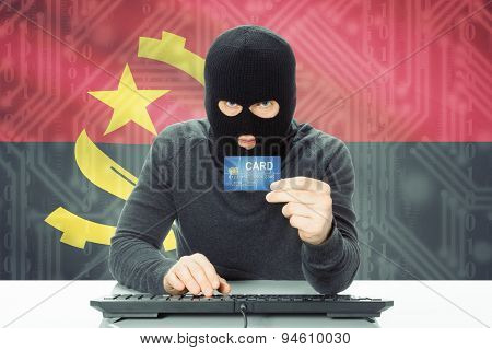 Concept Of Cybercrime With National Flag On Background - Angola