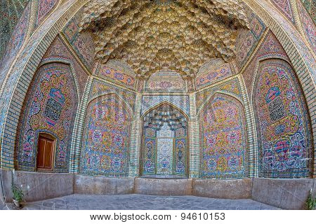 Nasir al-Mulk Mosque decoration fisheye view