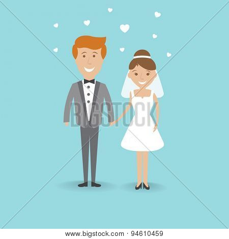 Vector illustration. Cute cartoon wedding couple holding hand on blue background. Wedding card modern design