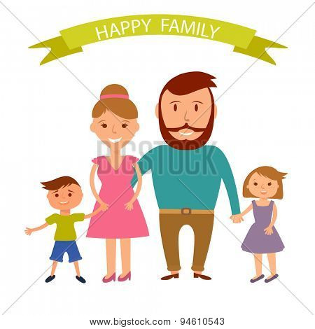 Happy family illustration. Father, mother, son and daugther portrait with banner.