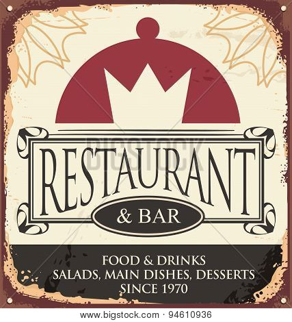 Vintage restaurant sign template