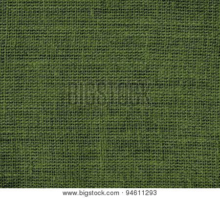 Dark moss green burlap texture background