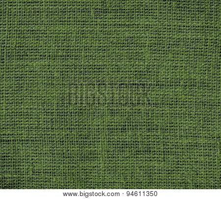 Dark olive green burlap texture background