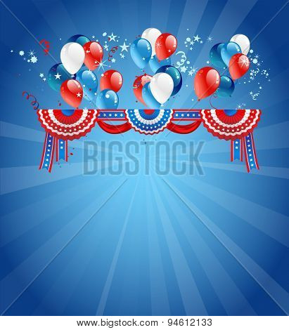 Festive card with balloons. Background with decorations for advertising, leaflet, cards, invitation and so on. Copy space