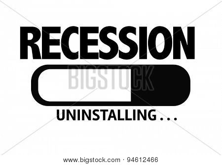 Progress Bar Uninstalling with the text: Recession