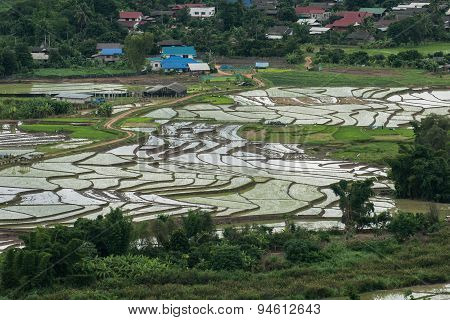 High view of rice terraces Mae Chaem, Chiang Mai, Northern Thailand