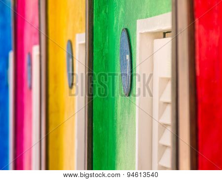 Colorful Abstract Background With Dressing Cabins At The Beach - Rimini Italy
