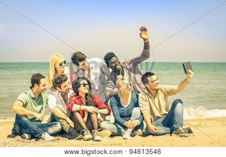 Multiracial Happy Friends Taking Selfie With Tablet At Beach - Multi Ethnic Concept Of Happiness