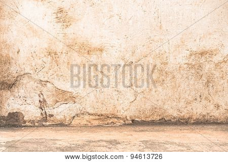 Empty Wall With Floor Edge - Dramatic Background Scene With Cracked Stonewall For Prison Building