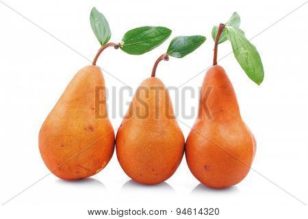 group of gold pears isolated over white background