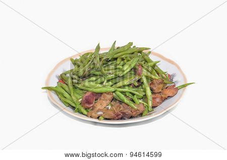 Sauteed green beans with chicken liver on a white background
