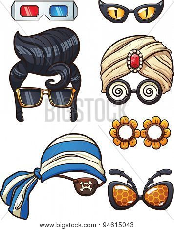 Funny cartoon glasses. Vector clip art illustration with simple gradients. Each on a separate layers.