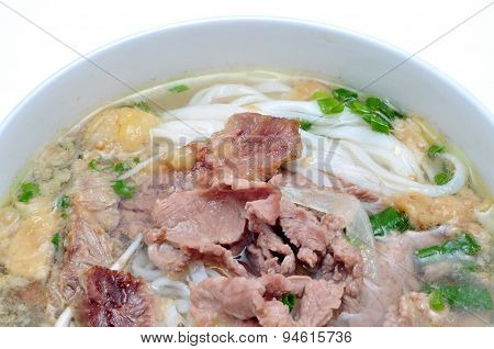 Pho or Vietnamese rice vermicelli noodle with beef