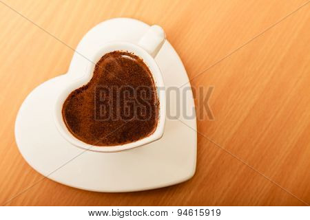 Coffee In Heart Shaped Cup Mug. Caffeine Energy.