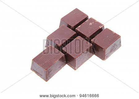 sweet dark chocolate candy's isolated over white background