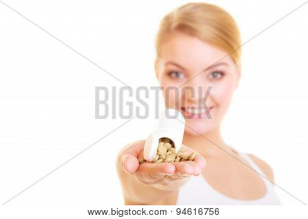 Woman Girl Holding Vitamins Pills. Health Care.