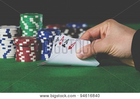 Poker Hand Of Aces In Pastel Colors