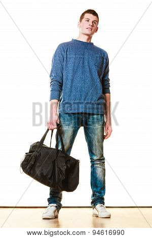 Young Man Casual Style With Bag Isolated