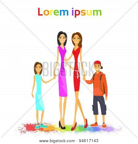 Same Couple Lesbian Woman Family with Kids