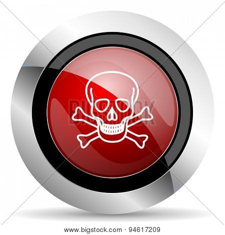 skull red glossy web icon original modern design for web and mobile app on white background