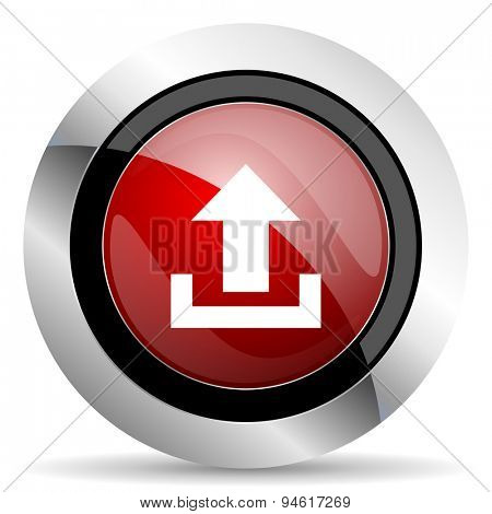 upload red glossy web icon original modern design for web and mobile app on white background