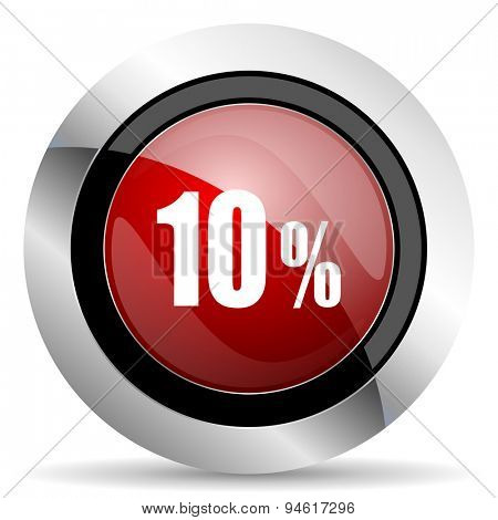 10 percent red glossy web icon original modern design for web and mobile app on white background