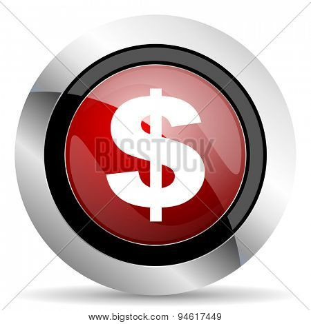dollar red glossy web icon original modern design for web and mobile app on white background