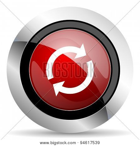 reload red glossy web icon original modern design for web and mobile app on white background