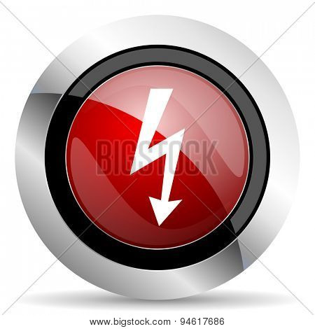 bolt red glossy web icon original modern design for web and mobile app on white background