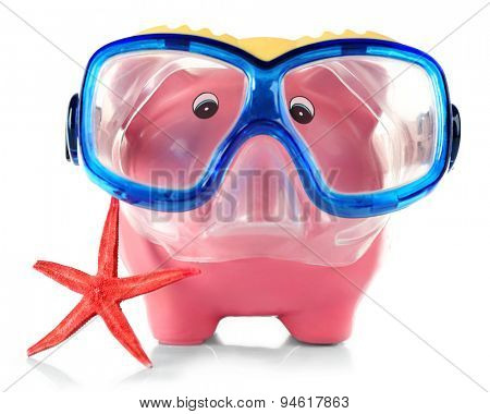 Piggy bank with mask for diving and sea star isolated on white