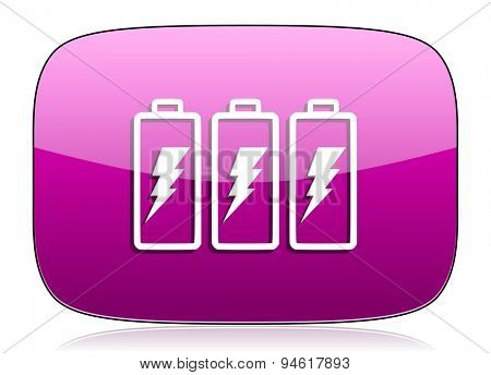 battery violet icon power sign original modern design for web and mobile app on white background with reflection