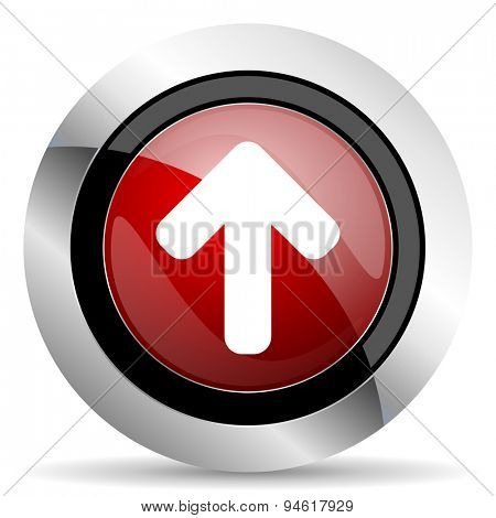 up arrow red glossy web icon original modern design for web and mobile app on white background