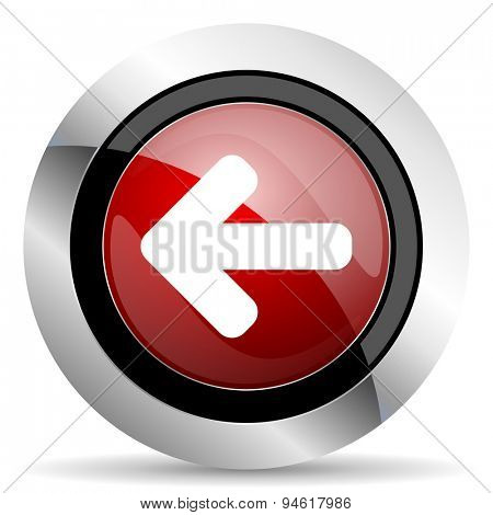 left arrow red glossy web icon original modern design for web and mobile app on white background