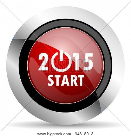 new year 2015 red glossy web icon original modern design for web and mobile app on white background