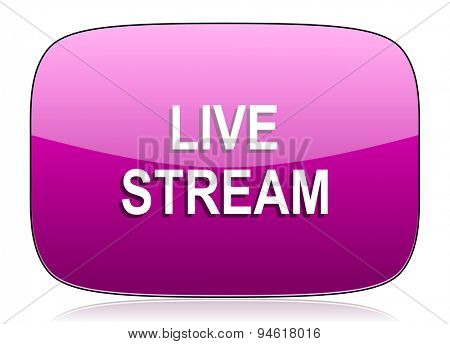 live stream violet icon  original modern design for web and mobile app on white background with reflection
