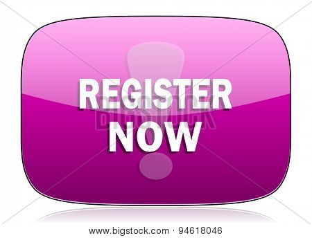 register now violet icon  original modern design for web and mobile app on white background with reflection