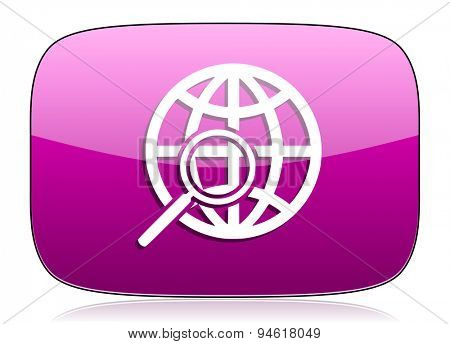 search violet icon  original modern design for web and mobile app on white background with reflection