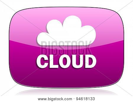 cloud violet icon  original modern design for web and mobile app on white background with reflection