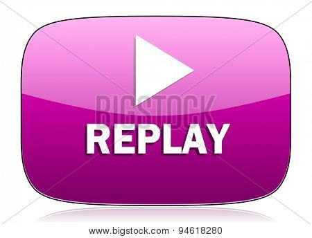replay violet icon  original modern design for web and mobile app on white background with reflection