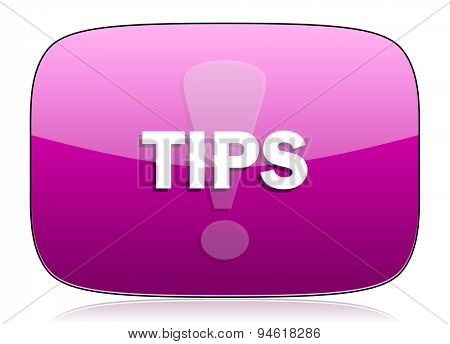 tips violet icon  original modern design for web and mobile app on white background with reflection