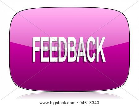 feedback violet icon  original modern design for web and mobile app on white background with reflection