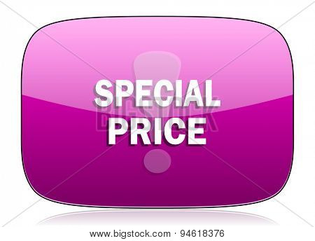 special price violet icon  original modern design for web and mobile app on white background with reflection