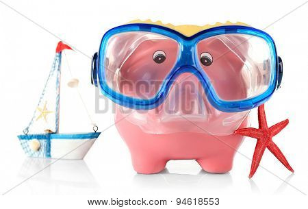 Piggy bank with mask for diving and nautilus isolated on white