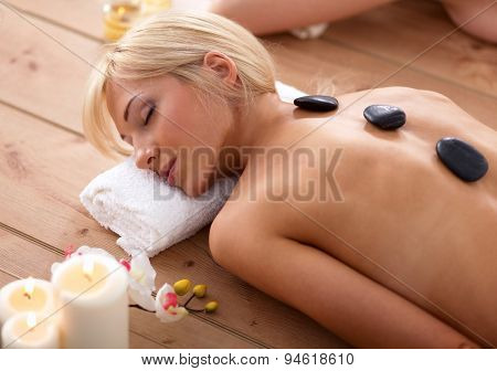 Young beautiful women relaxing and enjoying at the spa