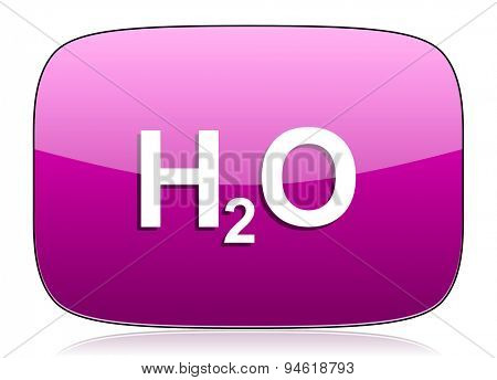 water violet icon h2o sign original modern design for web and mobile app on white background with reflection