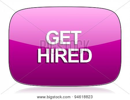 get hired violet icon  original modern design for web and mobile app on white background with reflection