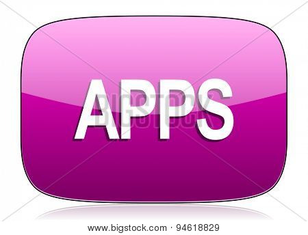 apps violet icon  original modern design for web and mobile app on white background with reflection