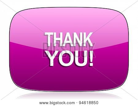 thank you violet icon  original modern design for web and mobile app on white background with reflection
