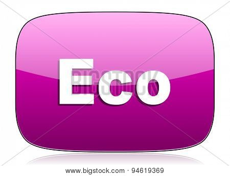 eco violet icon ecological sign original modern design for web and mobile app on white background with reflection