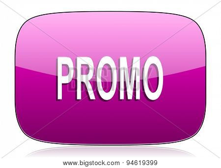 promo violet icon  original modern design for web and mobile app on white background with reflection